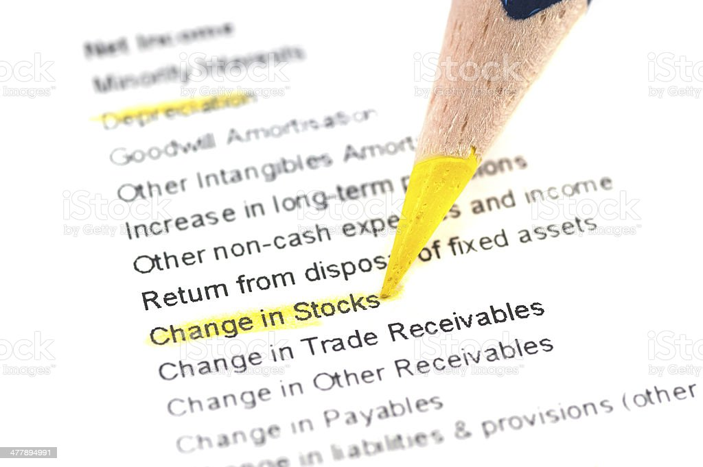 change in stocks highligted at balance sheet stock photo