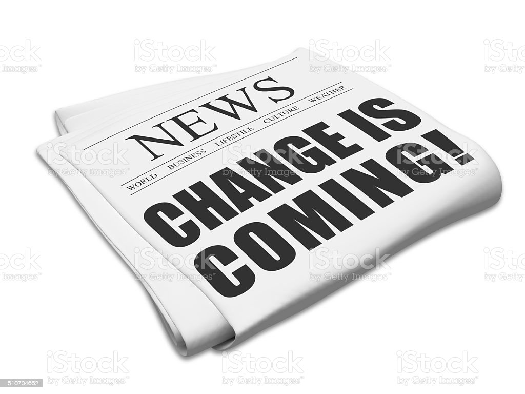 Change is coming newspaper stock photo