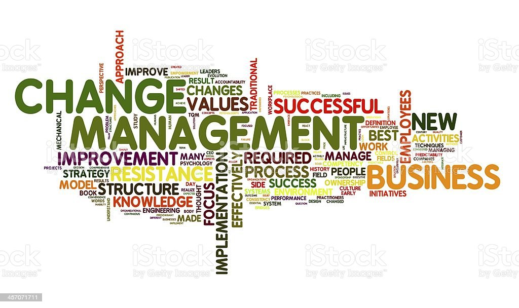 Change management in word cloug stock photo