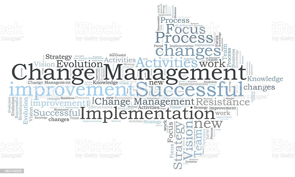 Change Management word cloud stock photo