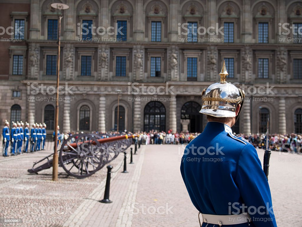 Change of guards at the royal palce in Stockholm royalty-free stock photo