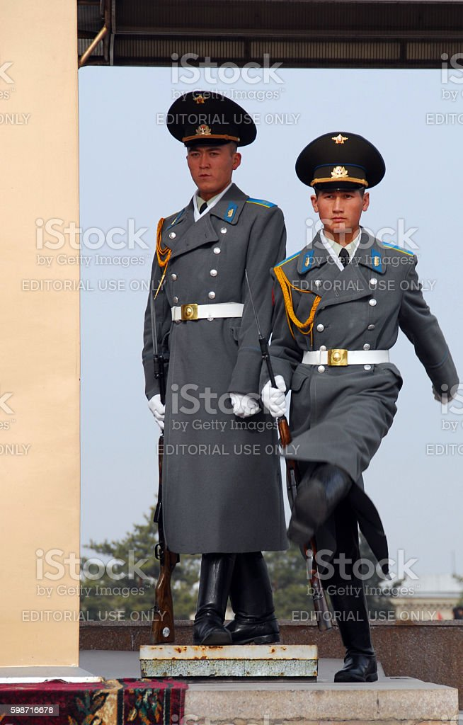 Change of the guard - Bishkek, Kyrgystan stock photo