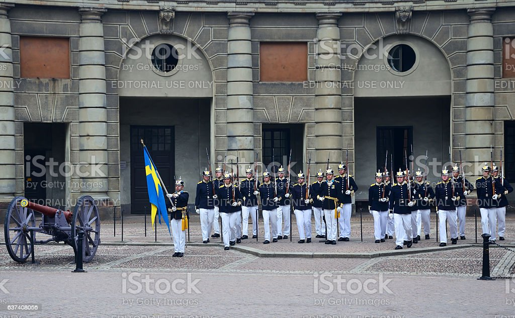 Change of the Royal Guard, Stockholm stock photo