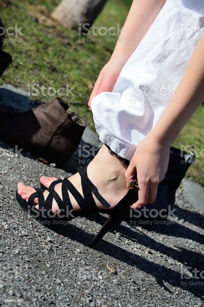 Change of woman shoes stock photo
