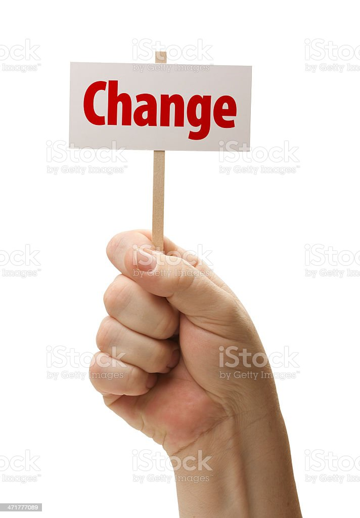 Change Sign In Fist On White royalty-free stock photo