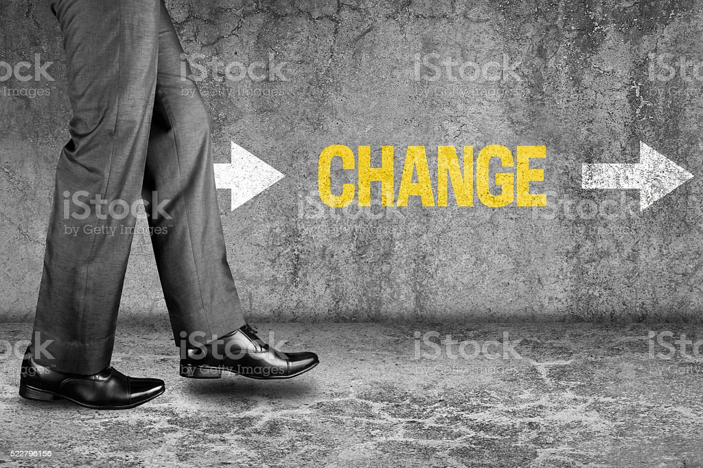 Change text on dirty wall stock photo