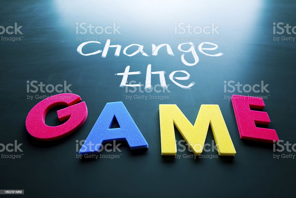 Change the game concept stock photo