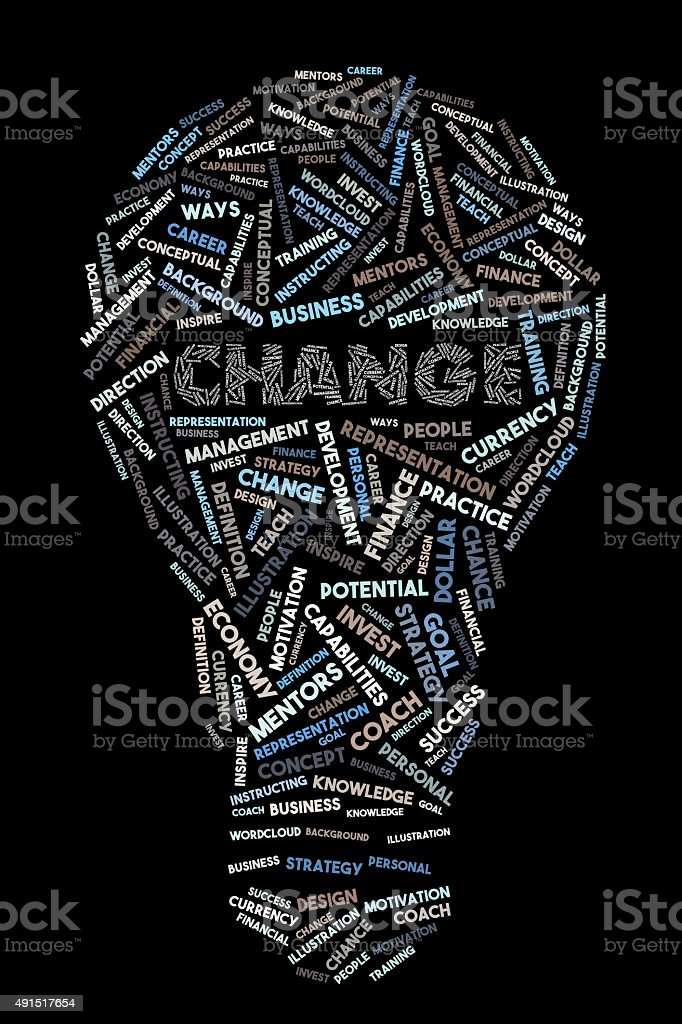 Change Word Concept in Bulb Shape Wordcloud stock photo