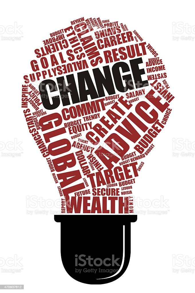Change Word on Collage word with bulb Shape stock photo