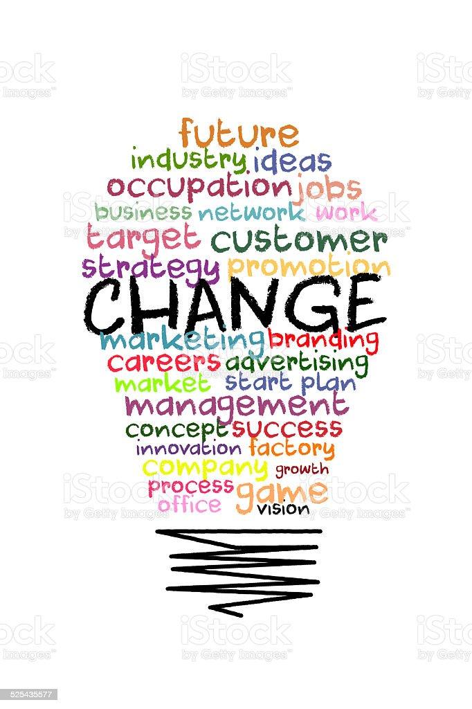Change word on colorful light bulb shape stock photo