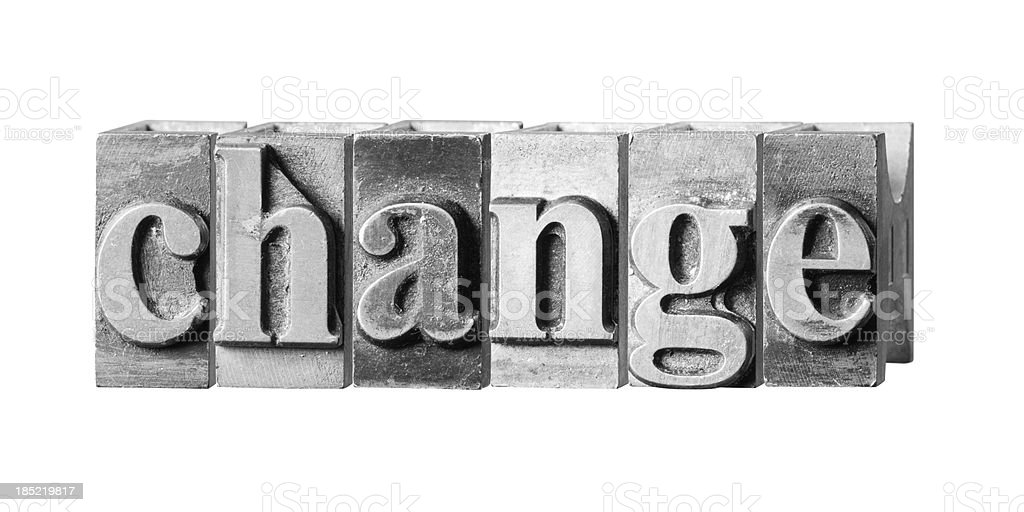 Change written in metal printing press letters royalty-free stock photo