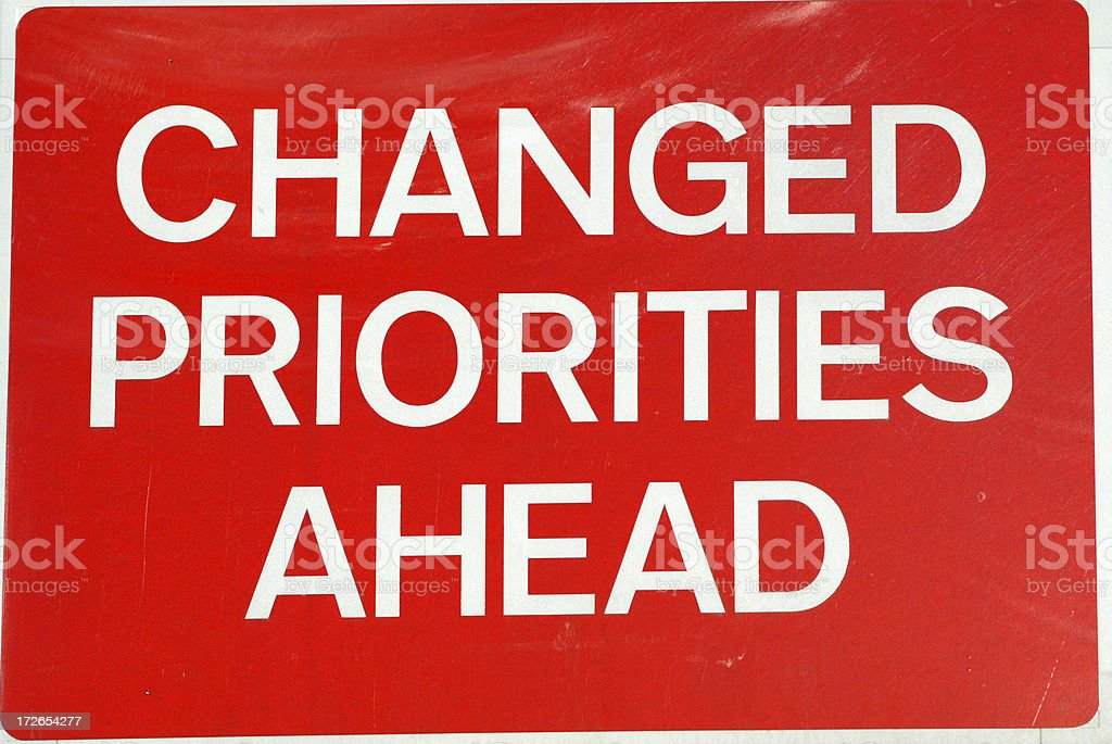 Changed Priorities Ahead royalty-free stock photo