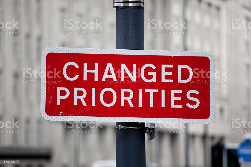 Changed Priorities; Irony in a Road Sign royalty-free stock photo