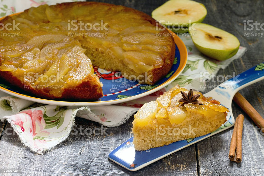 Changeling pie with fresh pears with caramel stock photo
