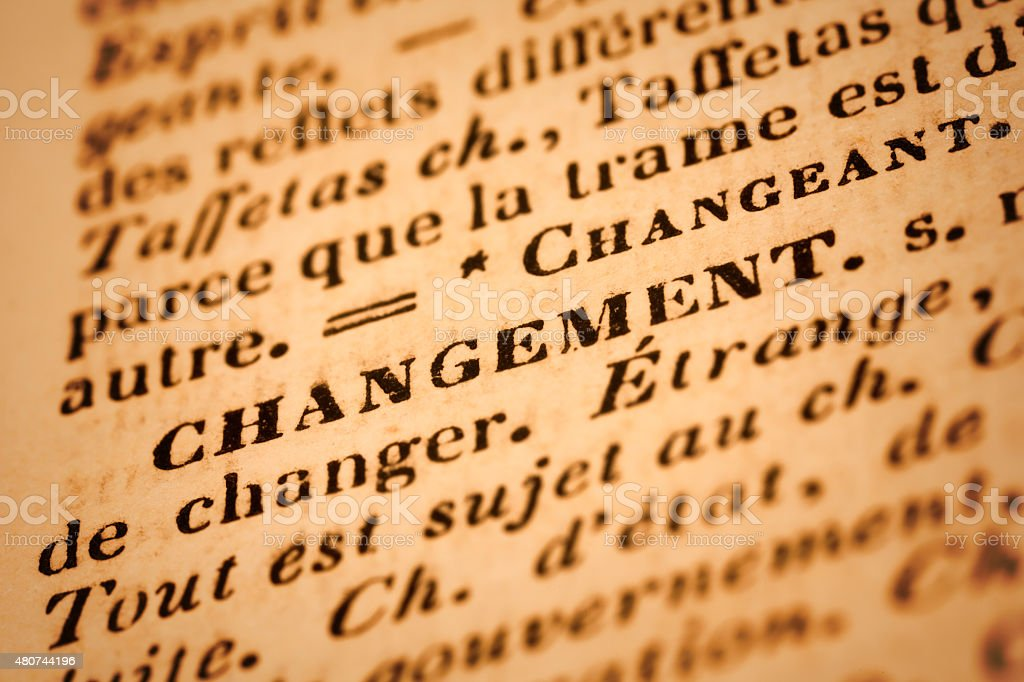 Changement: French Dictionary Close-up stock photo