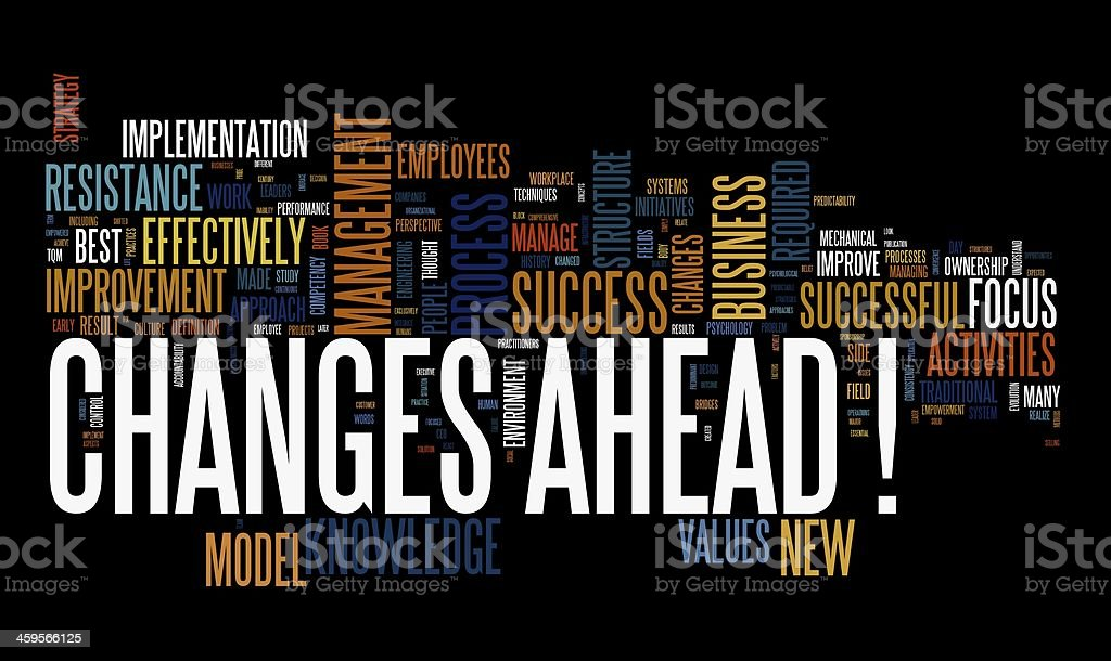Changes ahead in word cloug royalty-free stock vector art