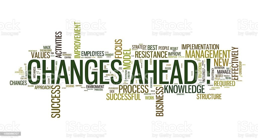 Changes ahead in word cloug stock photo