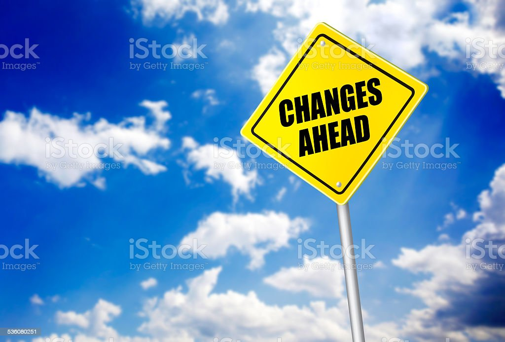 Changes ahead message on road sign stock photo