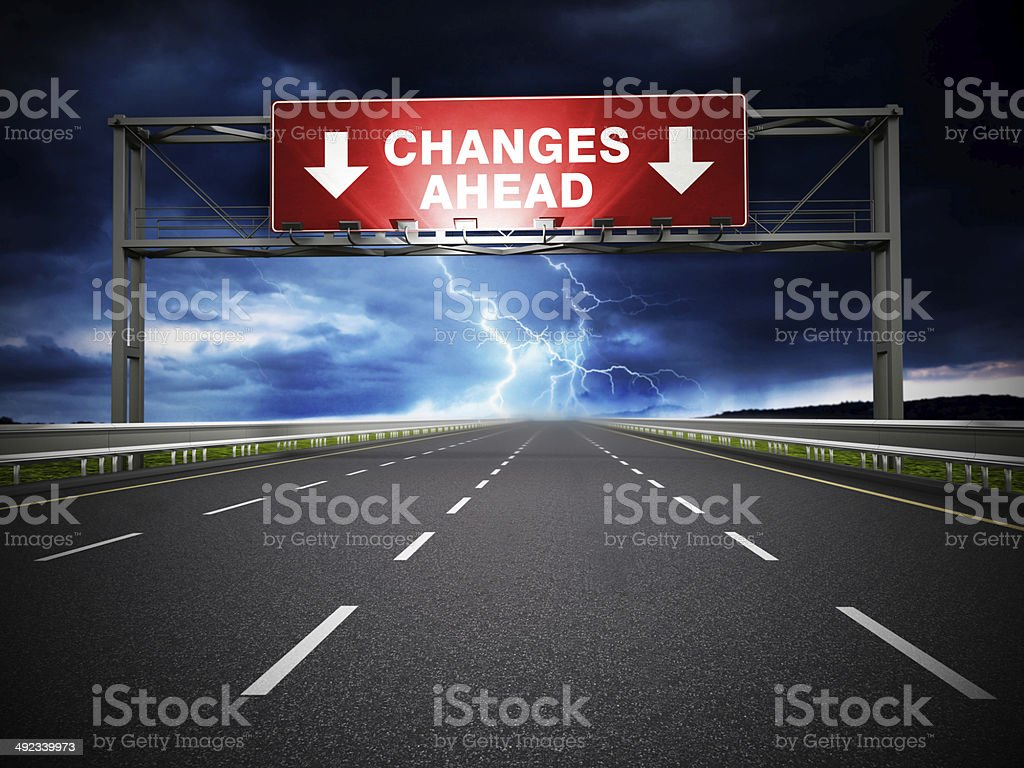 Changes ahead road sign stock photo