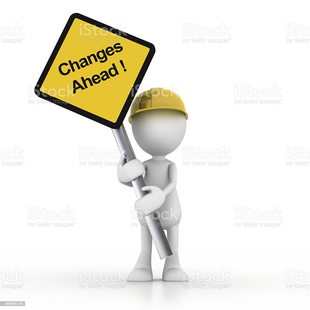 Changes ahead signage with man stock photo