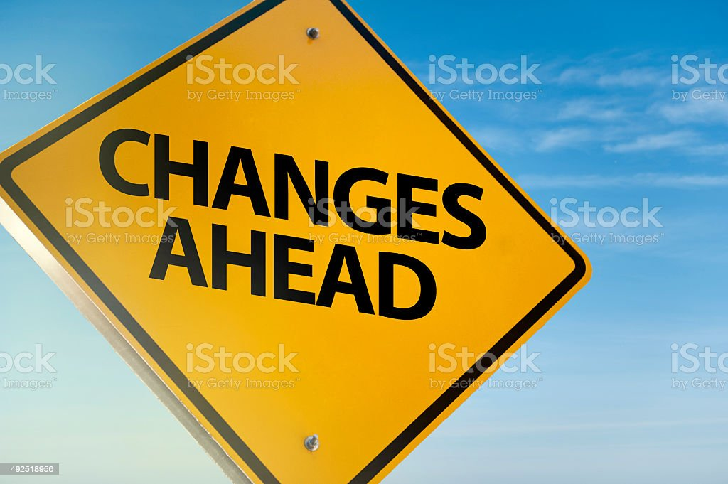Changes ahead / Warning sign (Click for more) stock photo