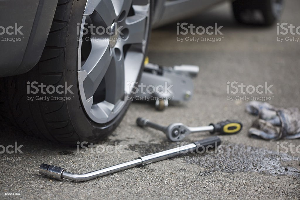 changing a wheel royalty-free stock photo
