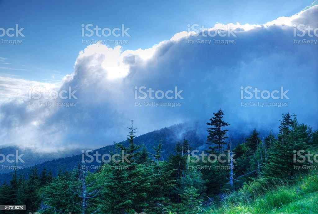 Changing cloudscape on Clingman's Dome. stock photo