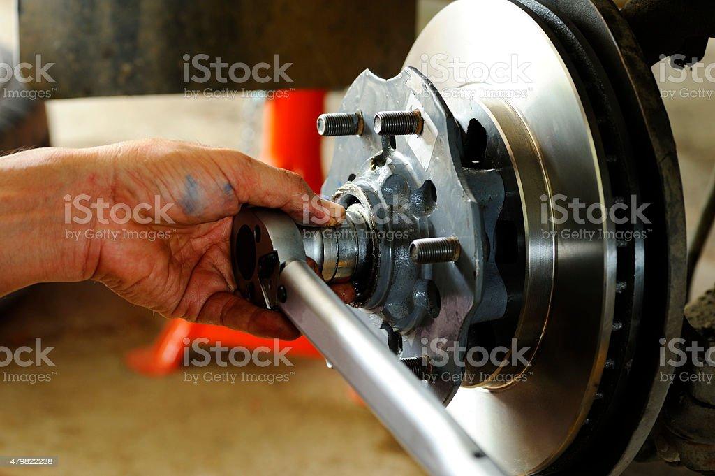 Changing disk brake stock photo