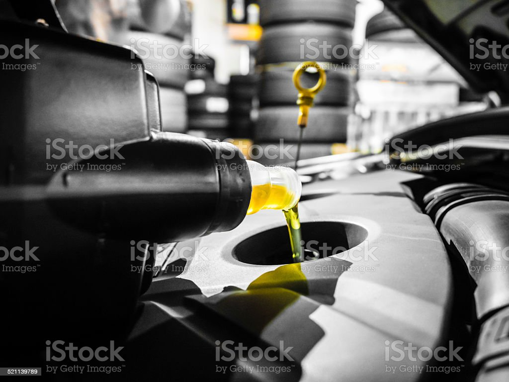 Changing engine oil stock photo
