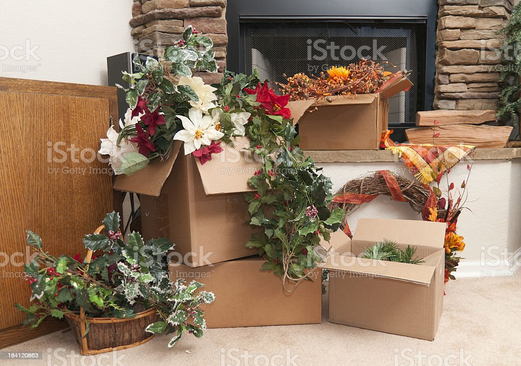 Changing from Fall to Winter decorations stock photo
