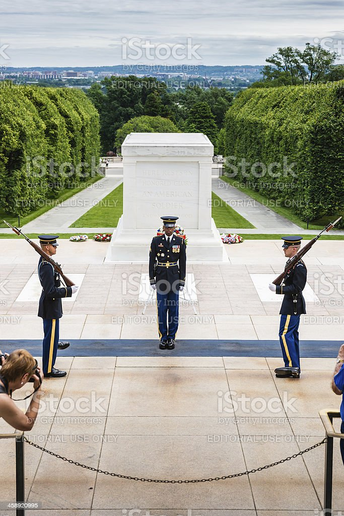 Changing Guard Tomb of Unknown Soldier in Arlington, Virginia, USA royalty-free stock photo