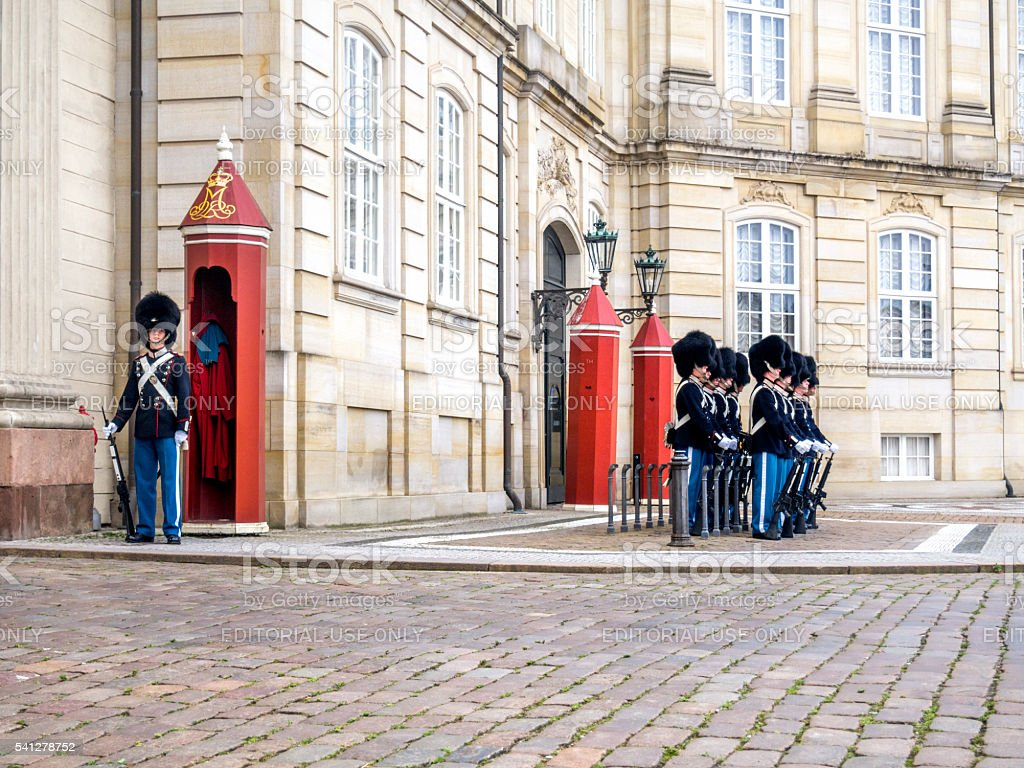 Changing guards, Amalienborg. stock photo