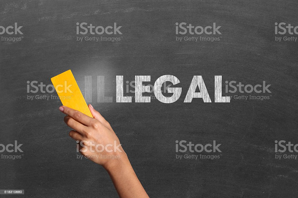 Changing Illegal to legal stock photo