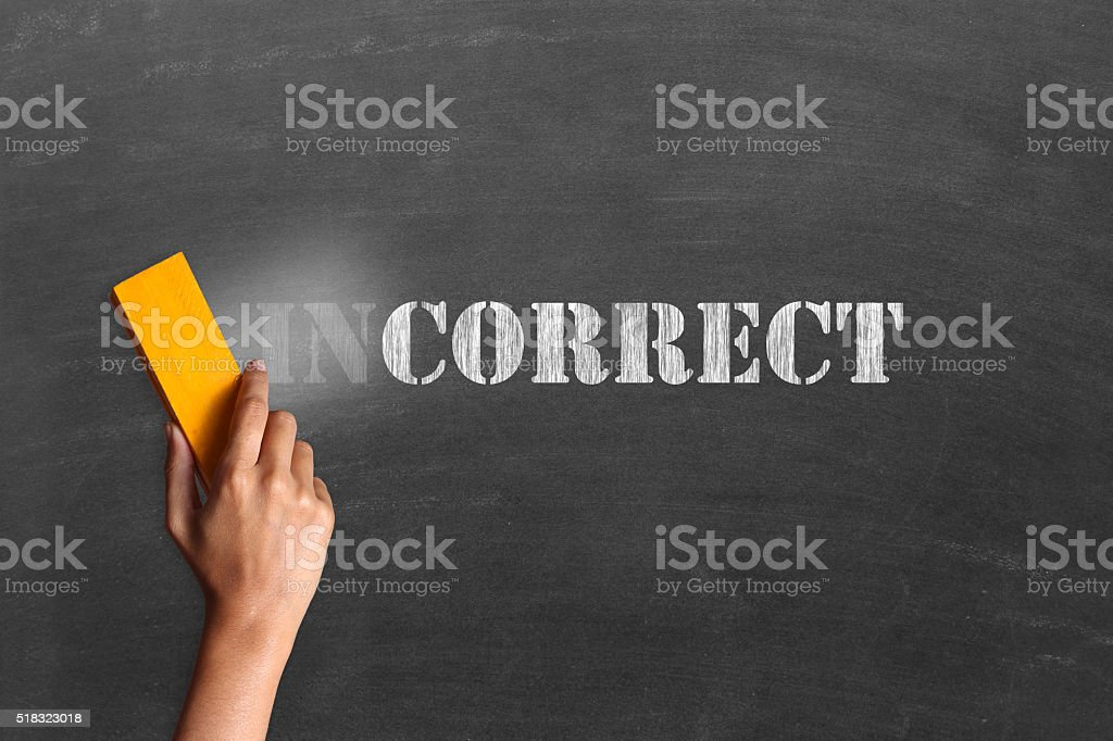 Changing incorrect to correct stock photo