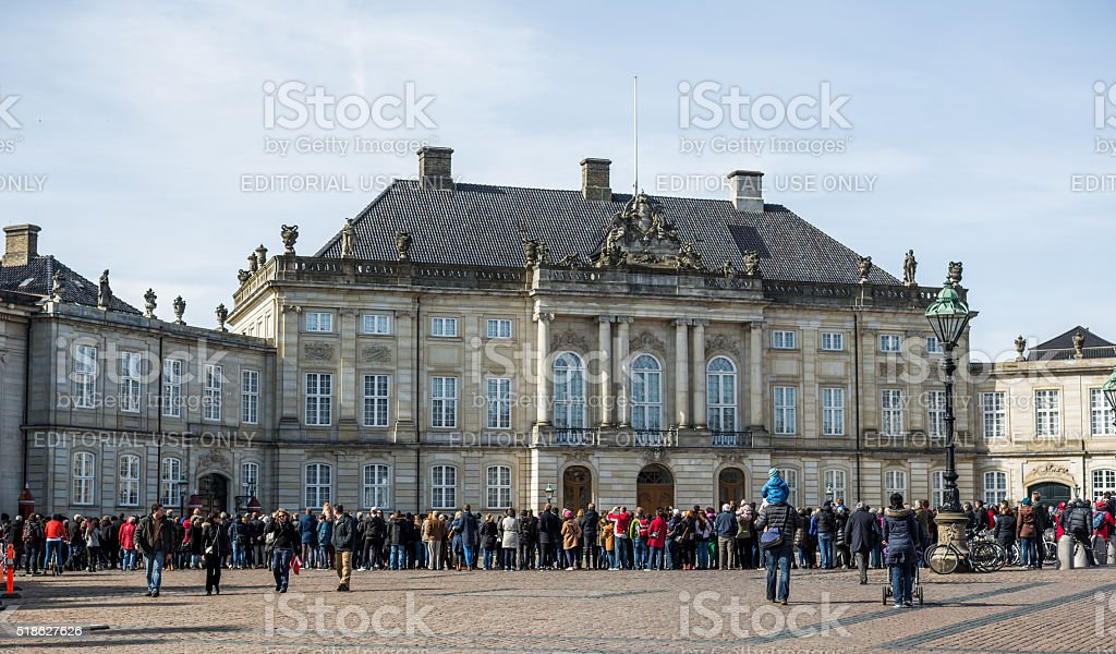 Changing of the guard at Amalienborg Castle stock photo