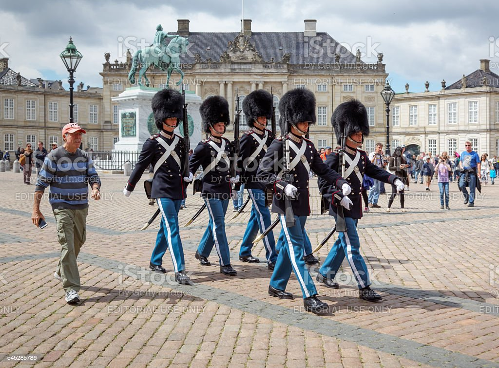 Changing of the guard at Amalienborg Palace, Copenhagen, Denmark stock photo