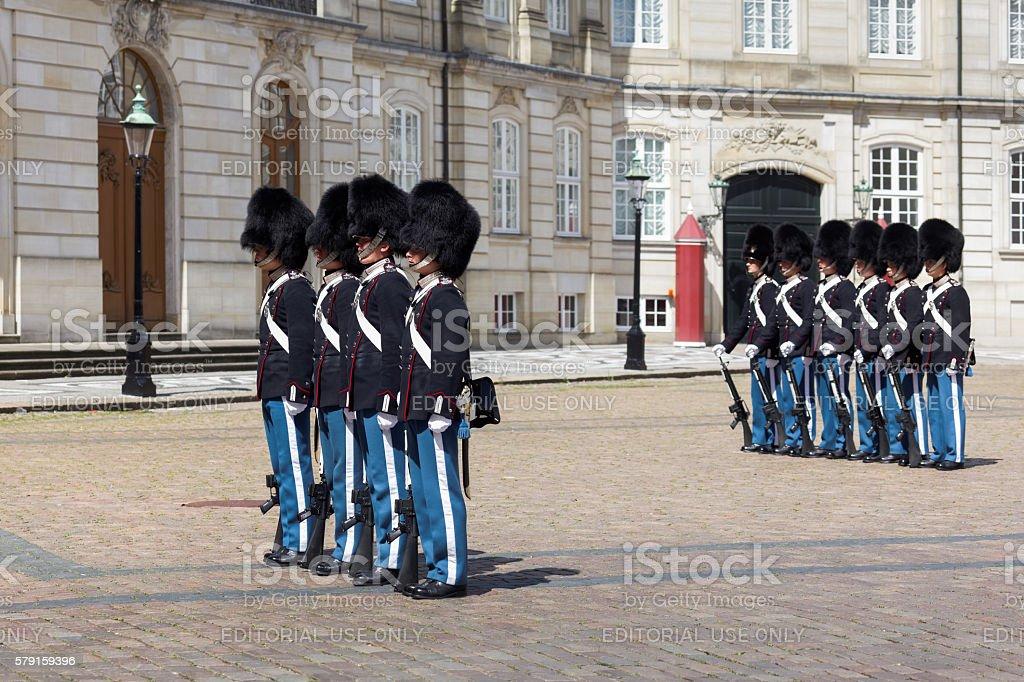 Changing of the guard at Amalienborg Palace, Copenhagen, Denmark stock photo