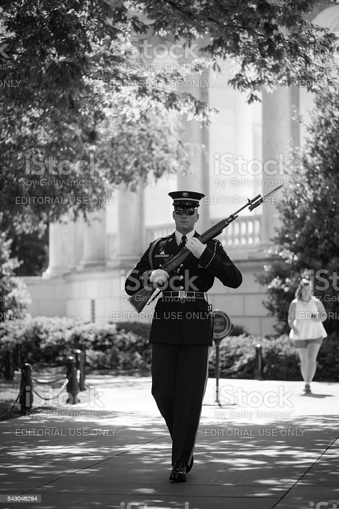 Changing of the guard at Arlington National Cemetery stock photo