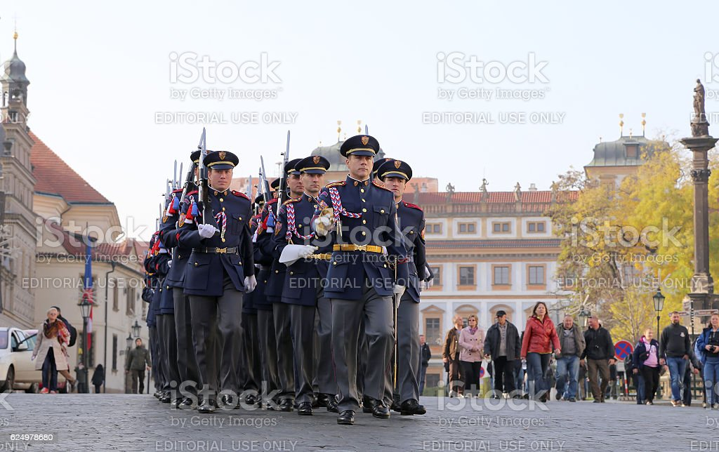 Changing of the guard at Prague Castle, Czech Republic stock photo