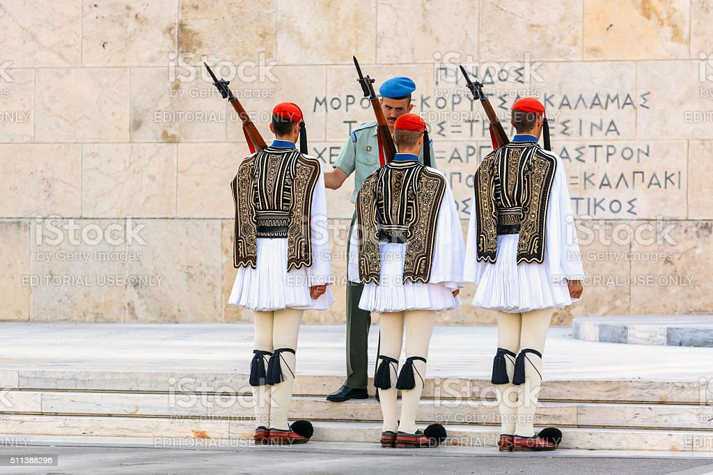Changing of the Guard ceremony in Athens stock photo