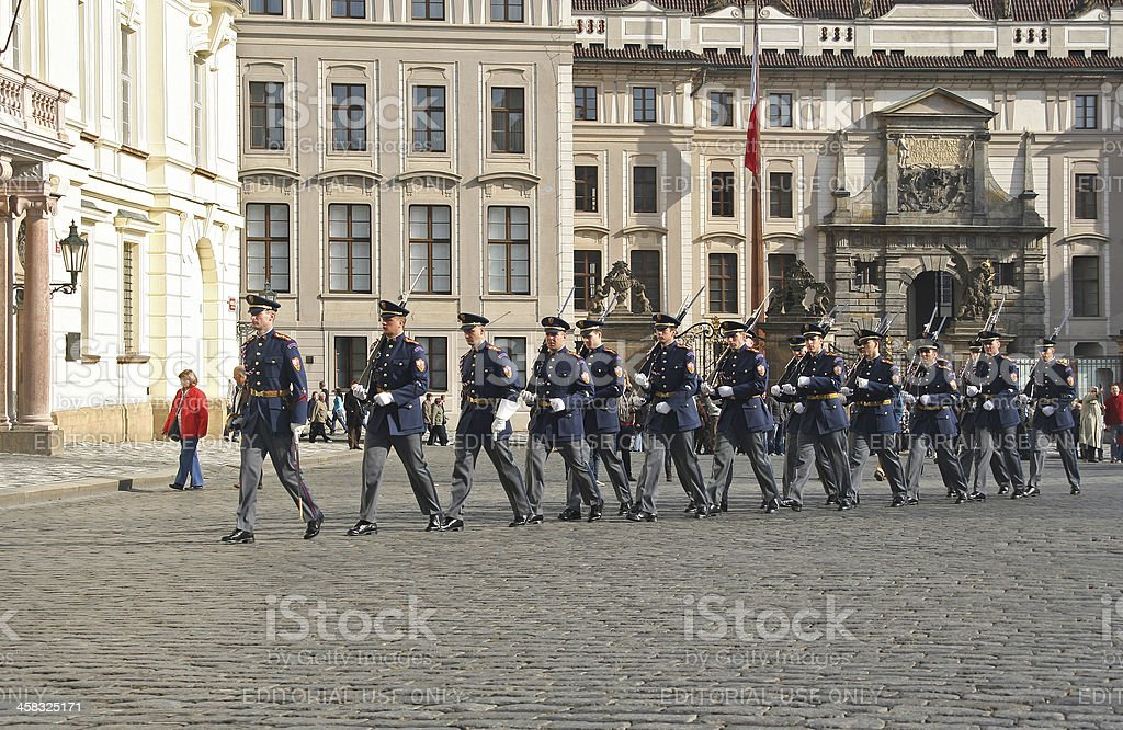 Changing of the Guard in Prague royalty-free stock photo