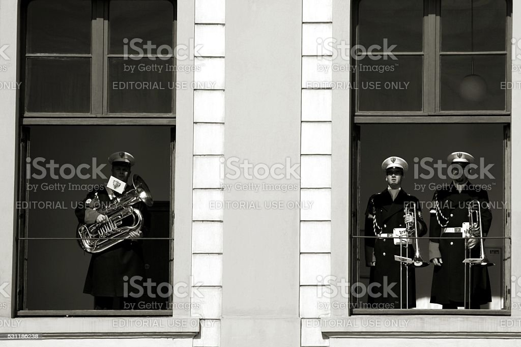 Changing of the Guard Military Band Presidential Palace Prague stock photo