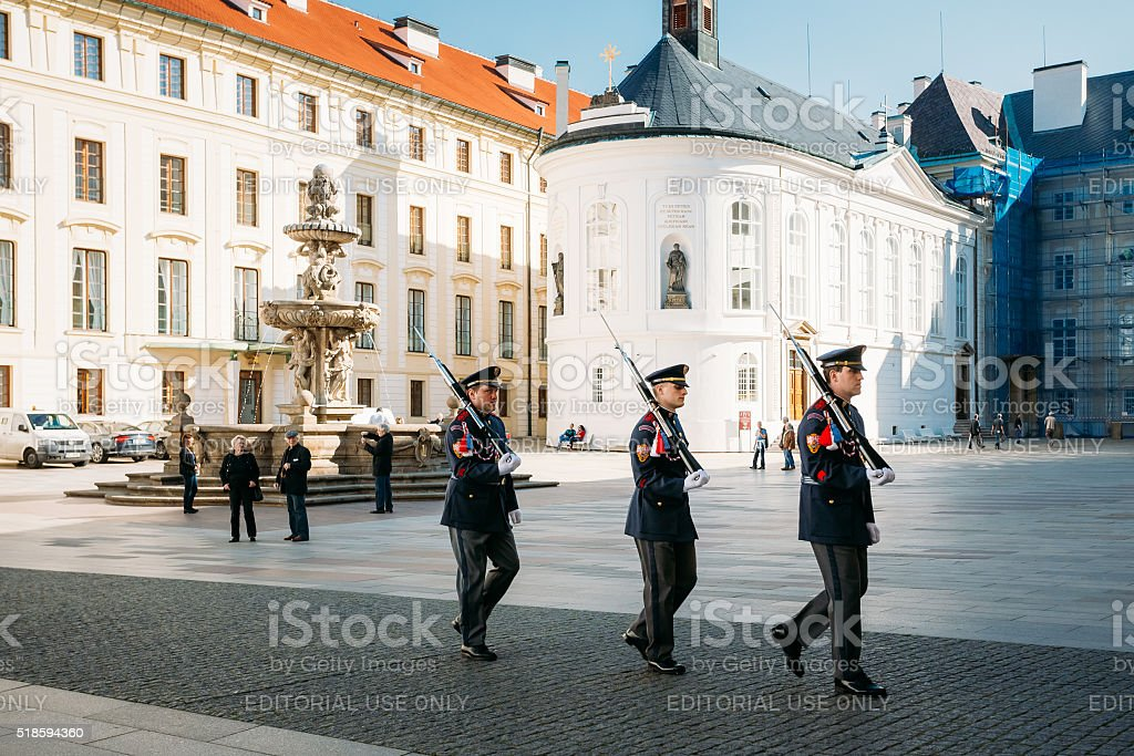 Changing of the guard of honor guards at Presidential Palace stock photo
