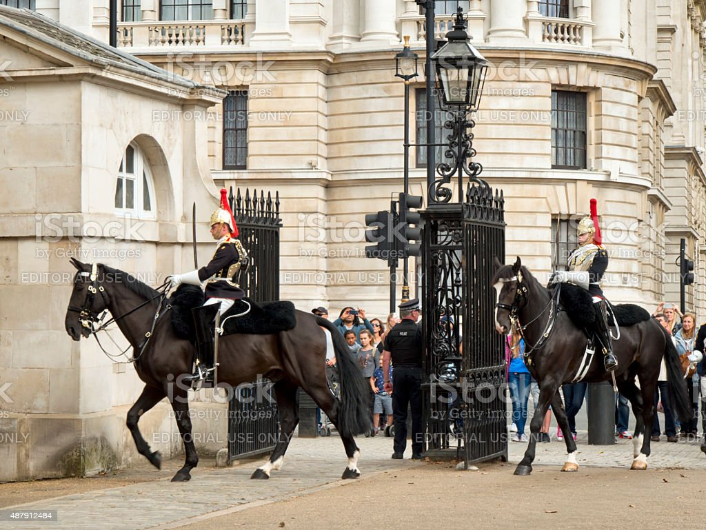Changing of the sentries, Horse Guards Parade stock photo