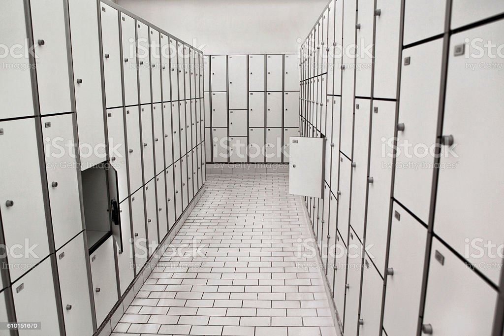 Changing room in a swimming pool stock photo