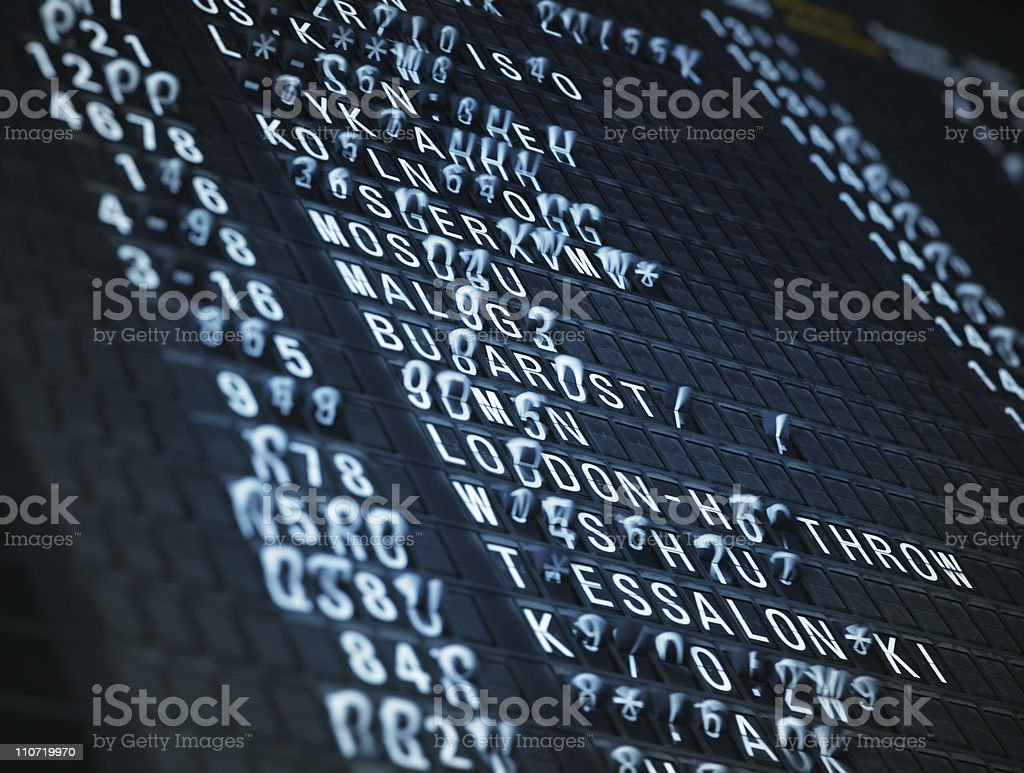 Changing text on Arrival Departure Board royalty-free stock photo