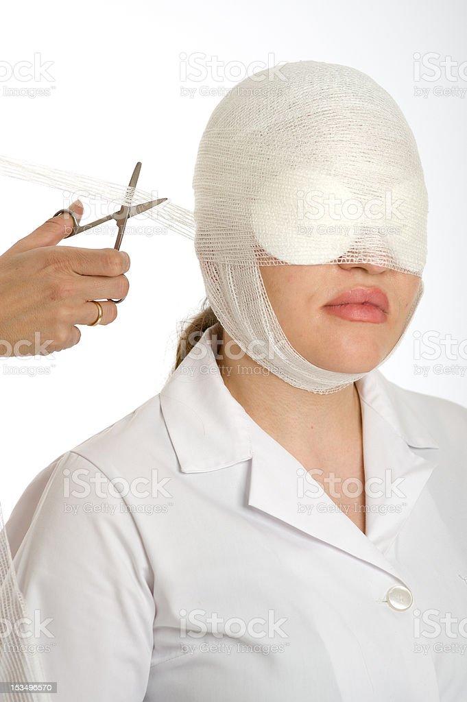 Changing the bandage stock photo