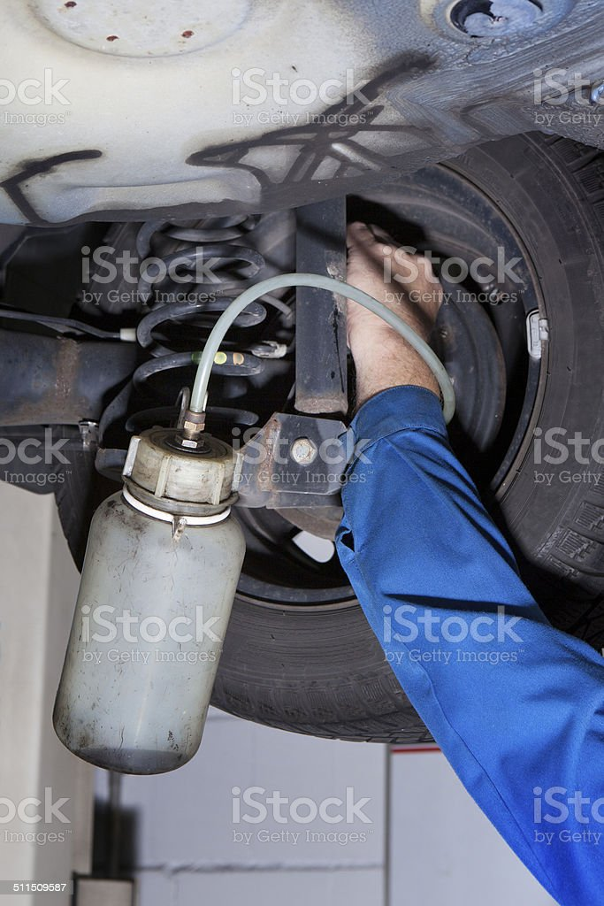 Changing the brake fluid stock photo
