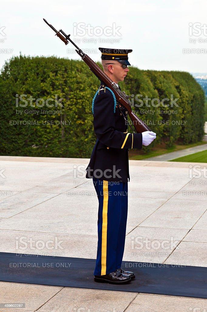 changing the guard at Arlington national Cemetery in Washington royalty-free stock photo