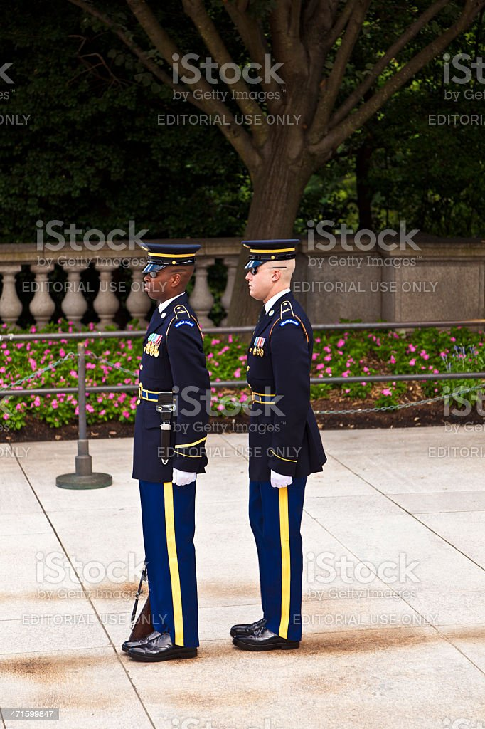 changing the guard at Arlington national Cemetery in Washington royalty-free stock photo